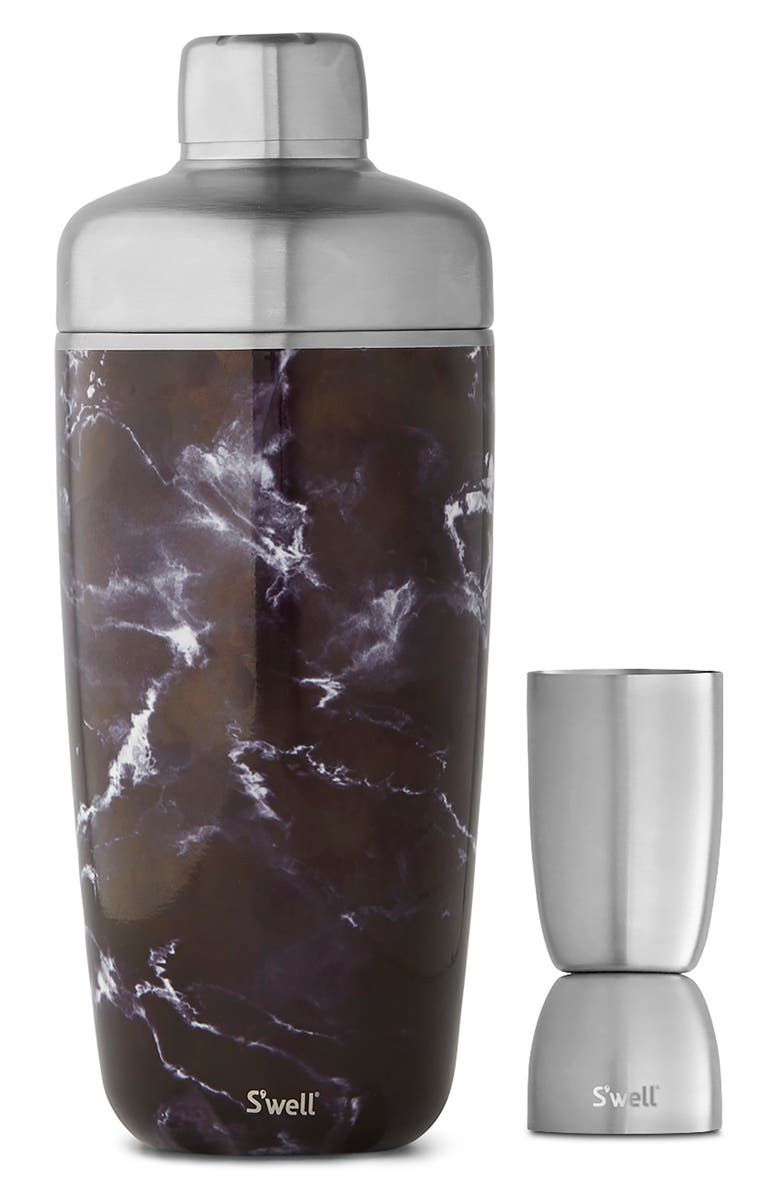 S'WELL Black Marble 8-Ounce Cocktail Shaker Set, Main, color, BLACK MARBLE
