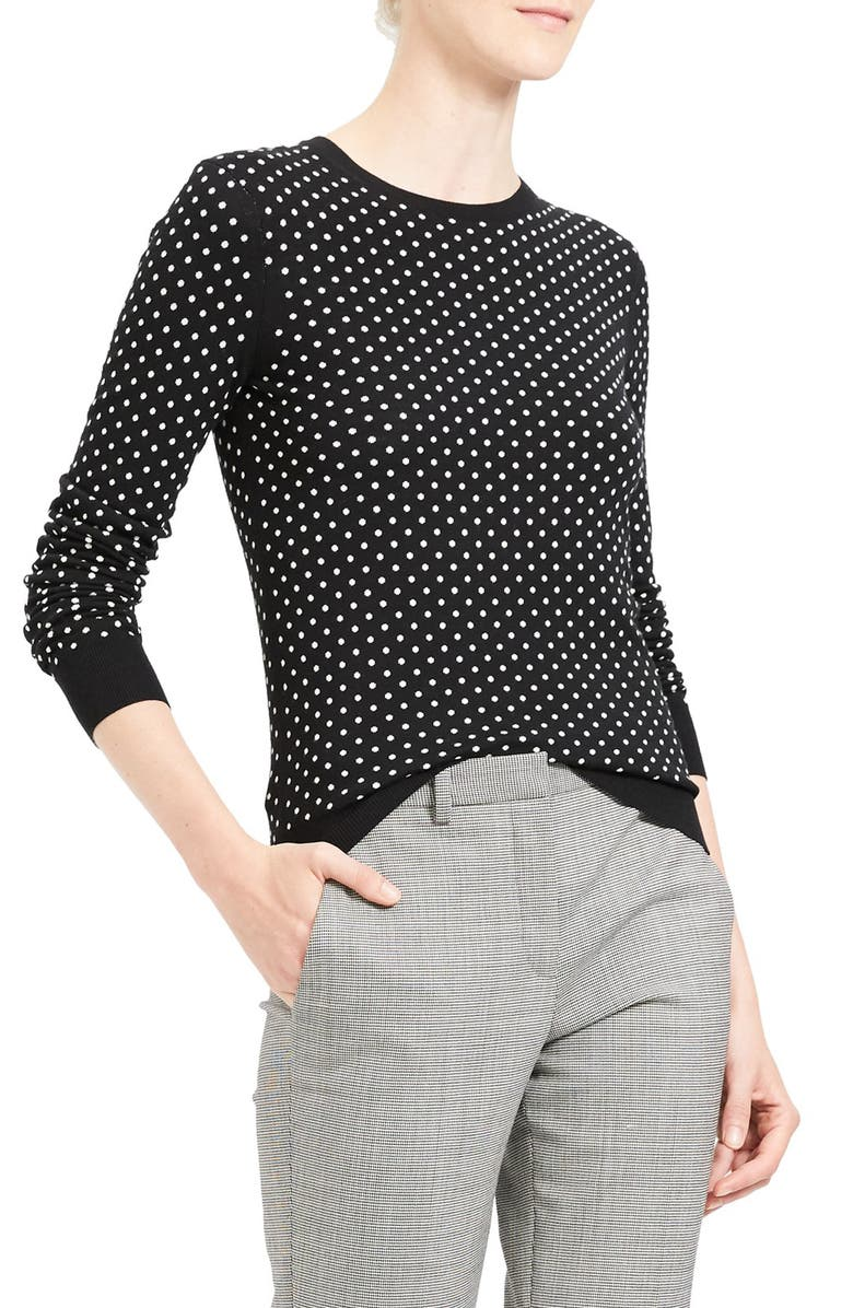 THEORY Mini Polka Dot Wool Blend Sweater, Main, color, 010