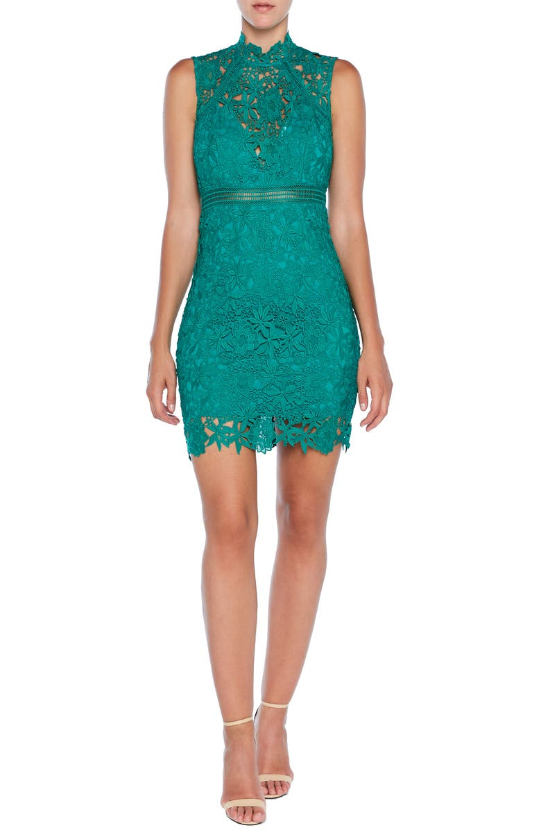 BARDOT Paris Lace Body-Con Cocktail Dress, Main, color, 300