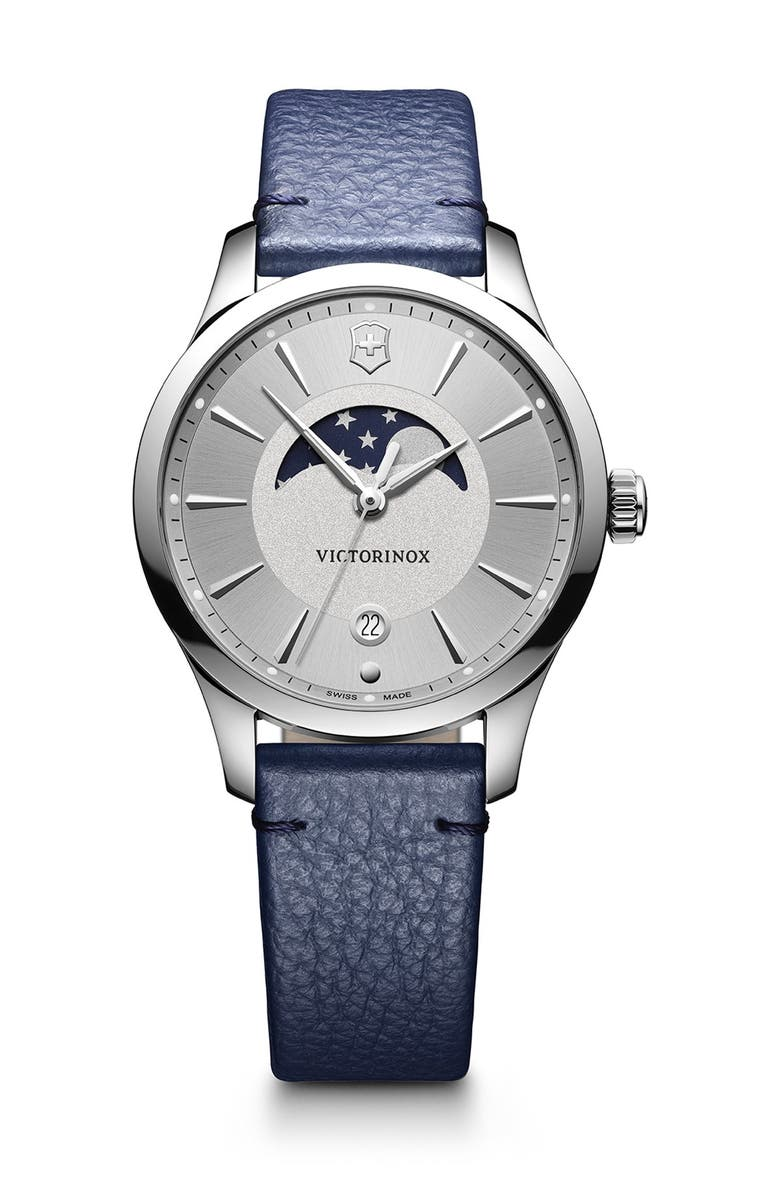 VICTORINOX SWISS ARMY Women's Alliance Moon Phase Leather Strap Watch, 35mm, Main, color, SILVER