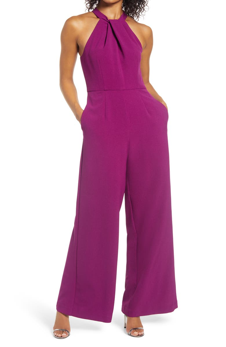 JULIA JORDAN Halter Neck Jumpsuit, Main, color, PURPLE