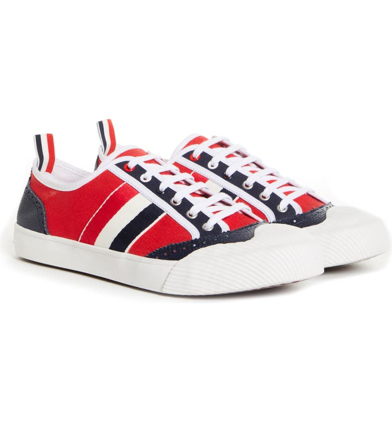 THOM BROWNE Brogued Low Top Sneaker, Main, color, Red/White/Blue