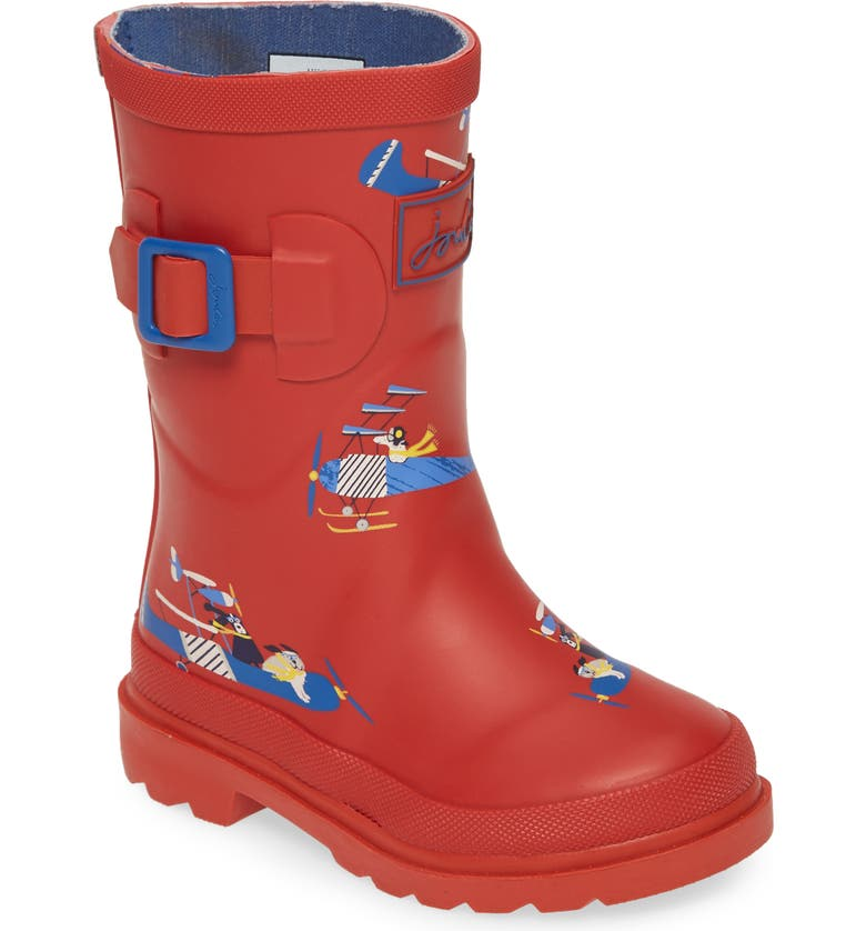 JOULES Welly Waterproof Rain Boot, Main, color, RED PLANES