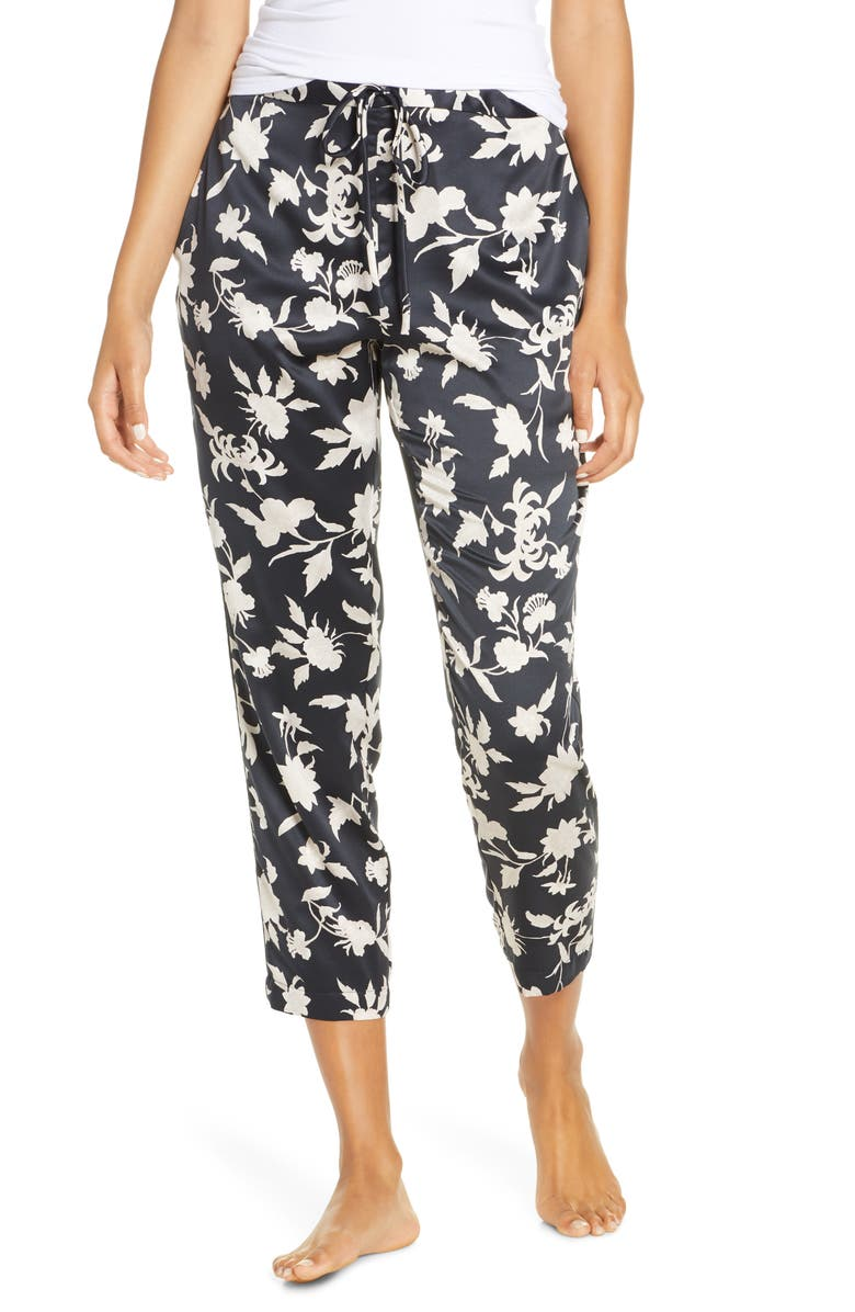 NATORI Fiesta Crop Pajama Pants, Main, color, BKC BLACK/ COCOON