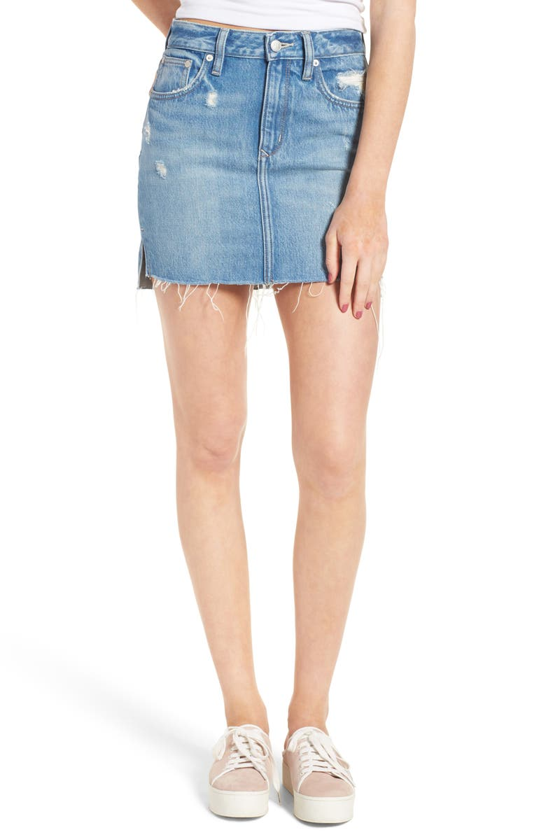 LOVERS + FRIENDS Elijah Denim Miniskirt, Main, color, 400