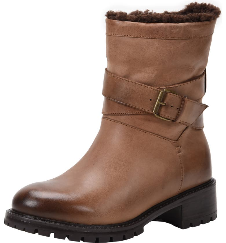 ROSS & SNOW Genuine Shearling Lined Moto Boot, Main, color, RUSTIC BROWN LEATHER