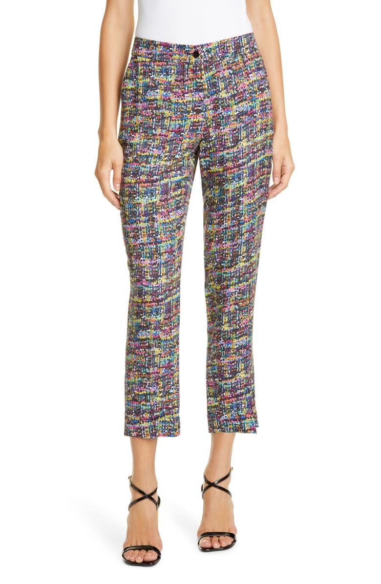 ETRO Tweed Print Cady Cuff Crop Pants, Main, color, 500