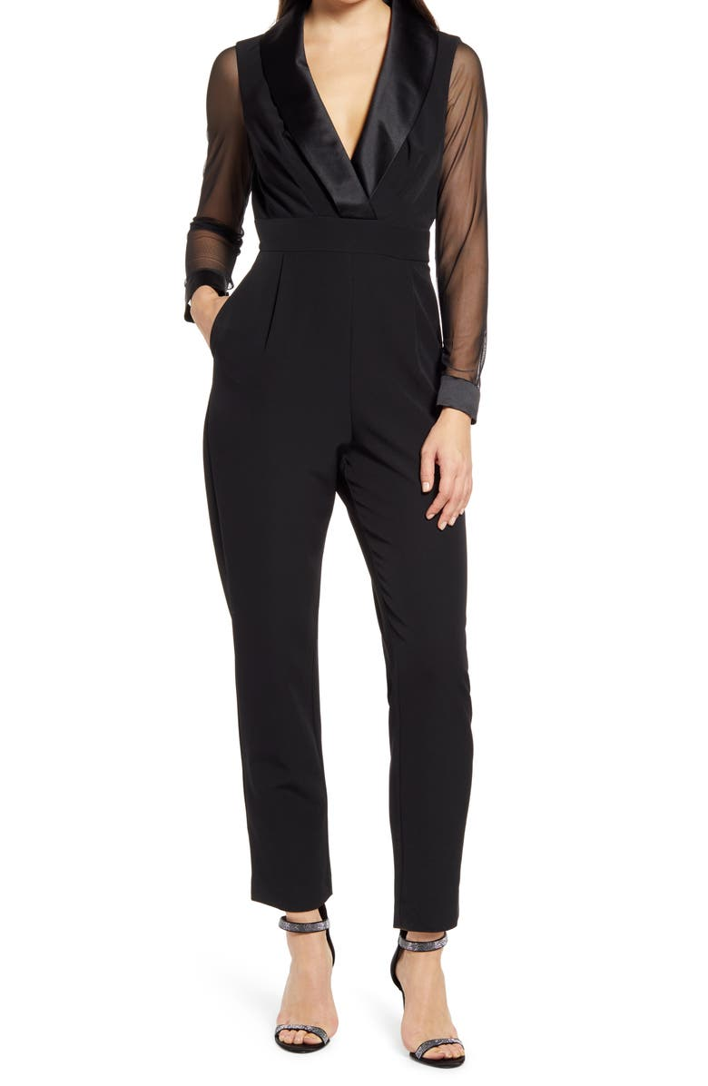 ELIZA J Long Sleeve Shawl Collar Tuxedo Jumpsuit, Main, color, BLACK