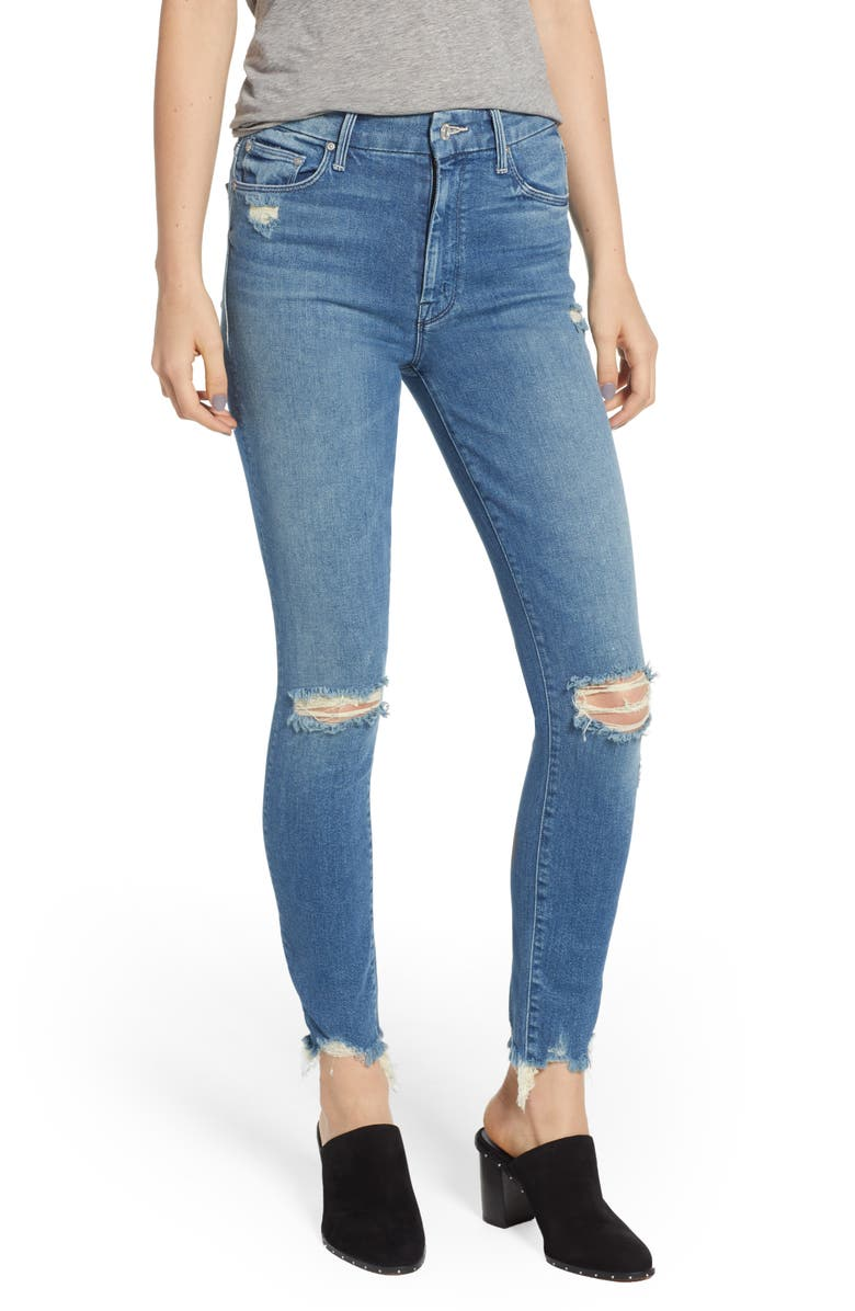 MOTHER The Looker High Waist Fray Ankle Skinny Jeans, Main, color, 426