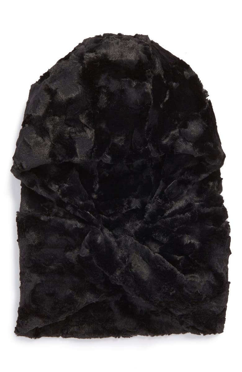LEITH Faux Fur Hooded Scarf, Main, color, BLACK