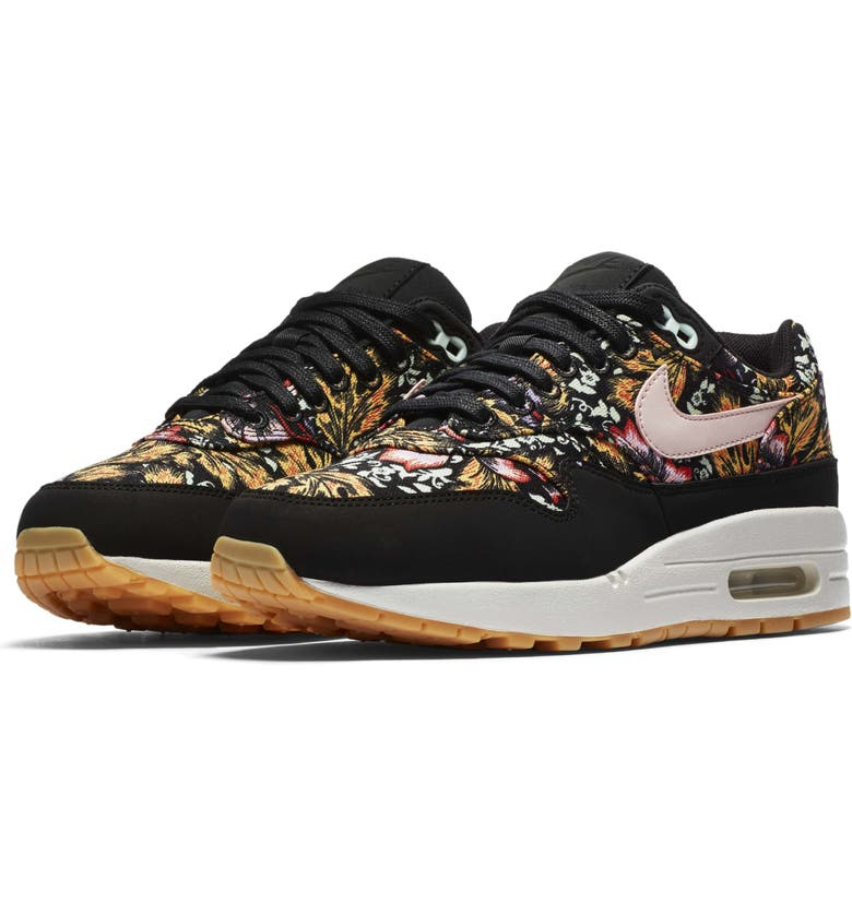 NIKE Air Max 1 QS Sneaker, Main, color, BLACK/ RED/ WHITE/ YELLOW