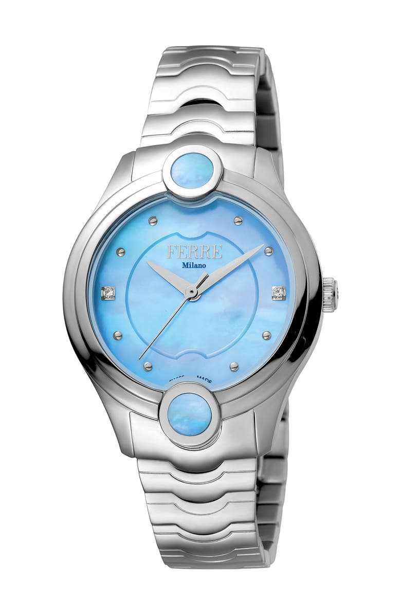 FERRE MILANO Women's Crystal Embellished Mother of Pearl Bracelet Watch, 34mm, Main, color, SILVER