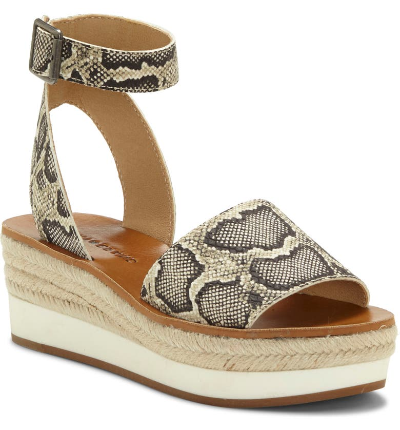 LUCKY BRAND Joodith Platform Wedge Sandal, Main, color, SNAKE PRINT LEATHER