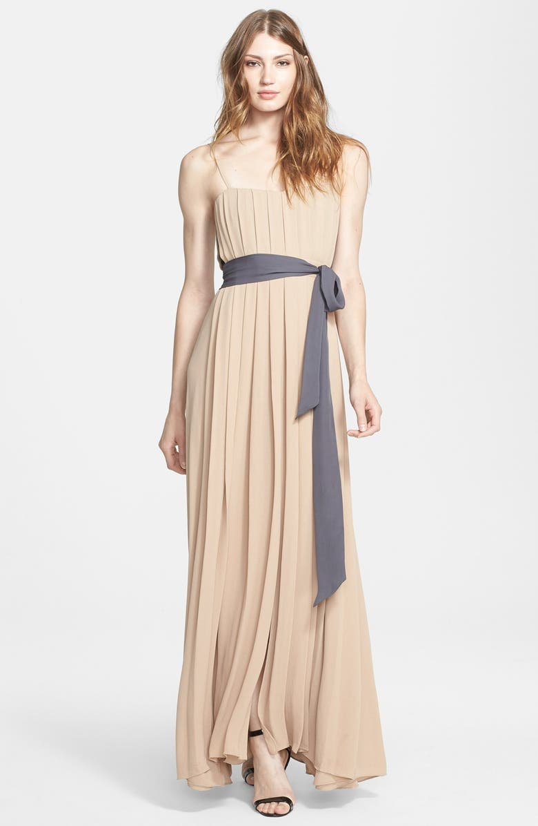L'AGENCE Pleated Matte Crepe Maxi Dress, Main, color, 270