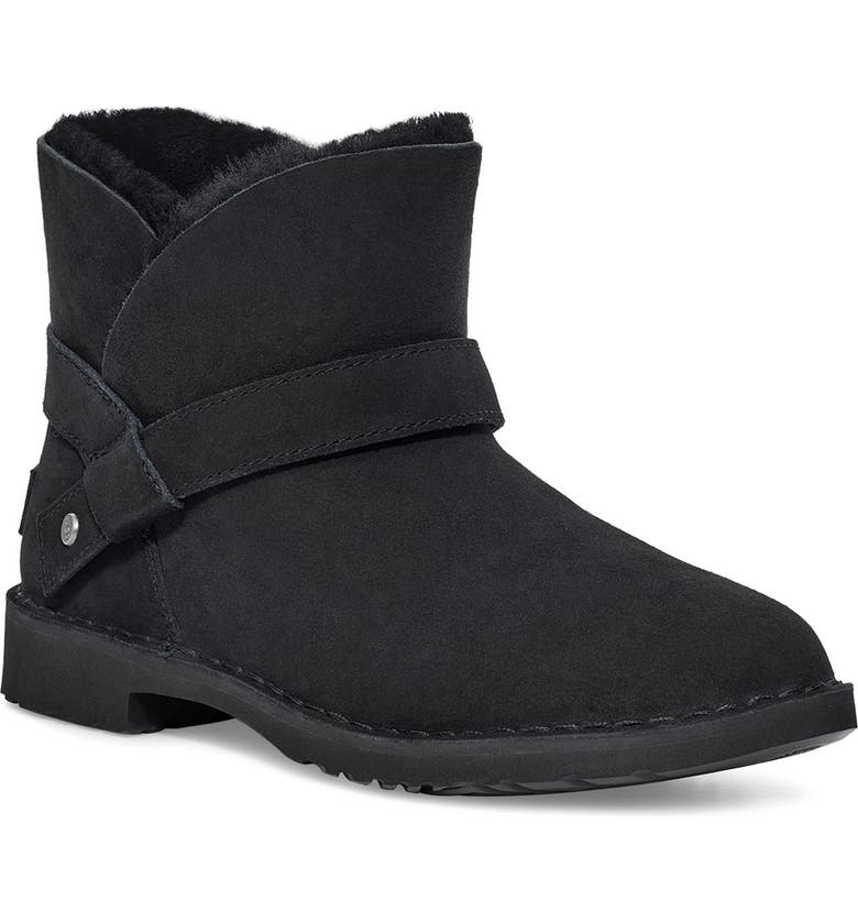 UGG<SUP>®</SUP> Zariyah Water Repellent Ankle Bootie, Main, color, BLACK SUEDE