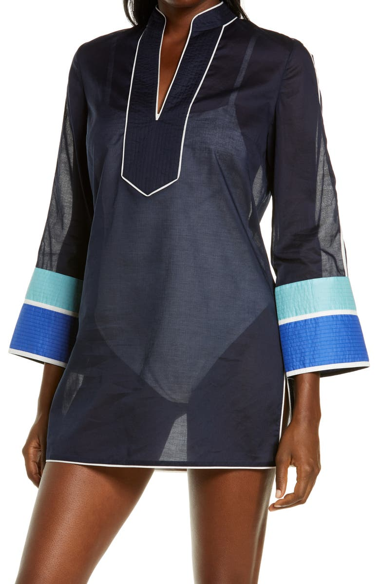 TORY BURCH Colorblock Cotton Cover-Up Tunic, Main, color, TORY NAVY/BLUE HARVEST/DUSK