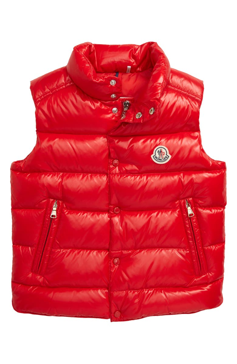 MONCLER Tib Water Resistant Quilted Down Vest, Main, color, RED