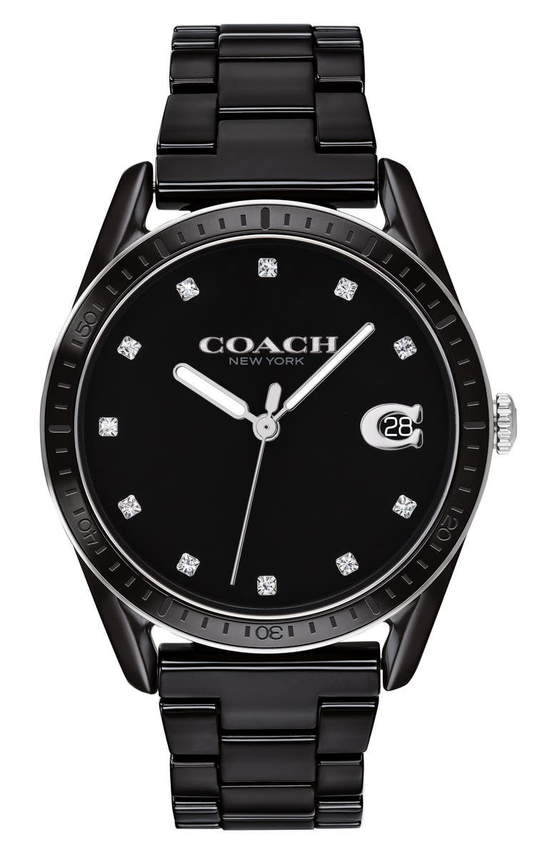 COACH Preston Ceramic Bracelet Watch, 36mm, Main, color, 001
