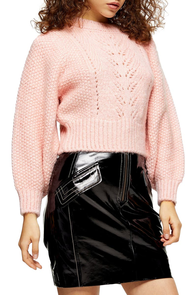 TOPSHOP Stitchy Crop Sweater, Main, color, 650