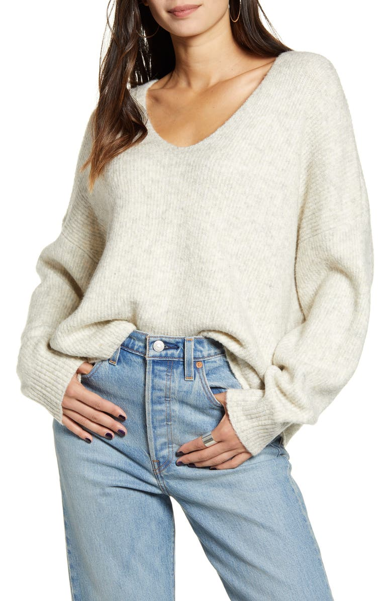 FRENCH CONNECTION Millie Ribbed V-Neck Sweater, Main, color, LIGHT OATMEAL MEL