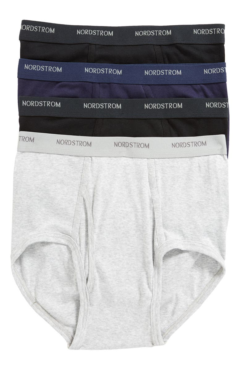 NORDSTROM 4-Pack Supima<sup>®</sup> Cotton Briefs, Main, color, BLACK/ NAVY/ GREY