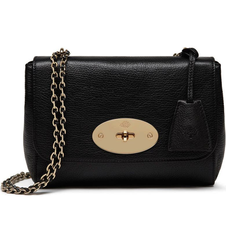MULBERRY Lily Convertible Leather Shoulder Bag, Main, color, GLOSSY GOAT BLACK