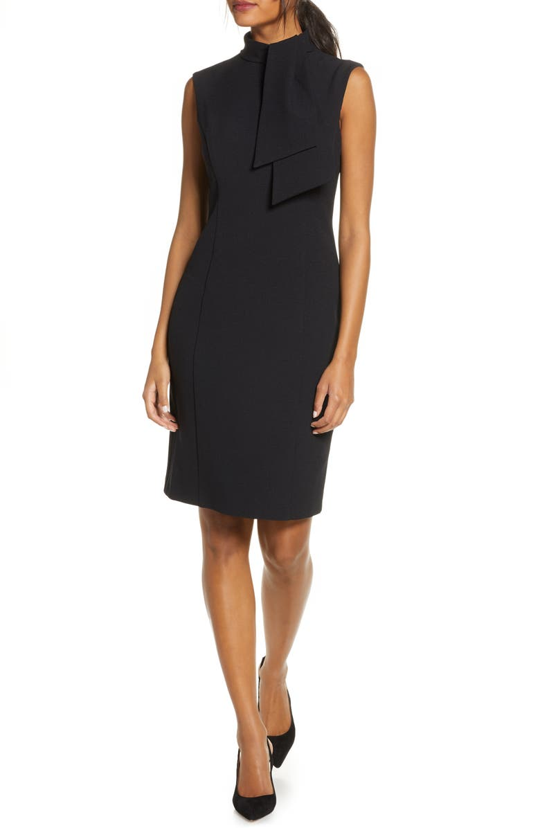 HARPER ROSE Tie Neck Sheath Dress, Main, color, 001