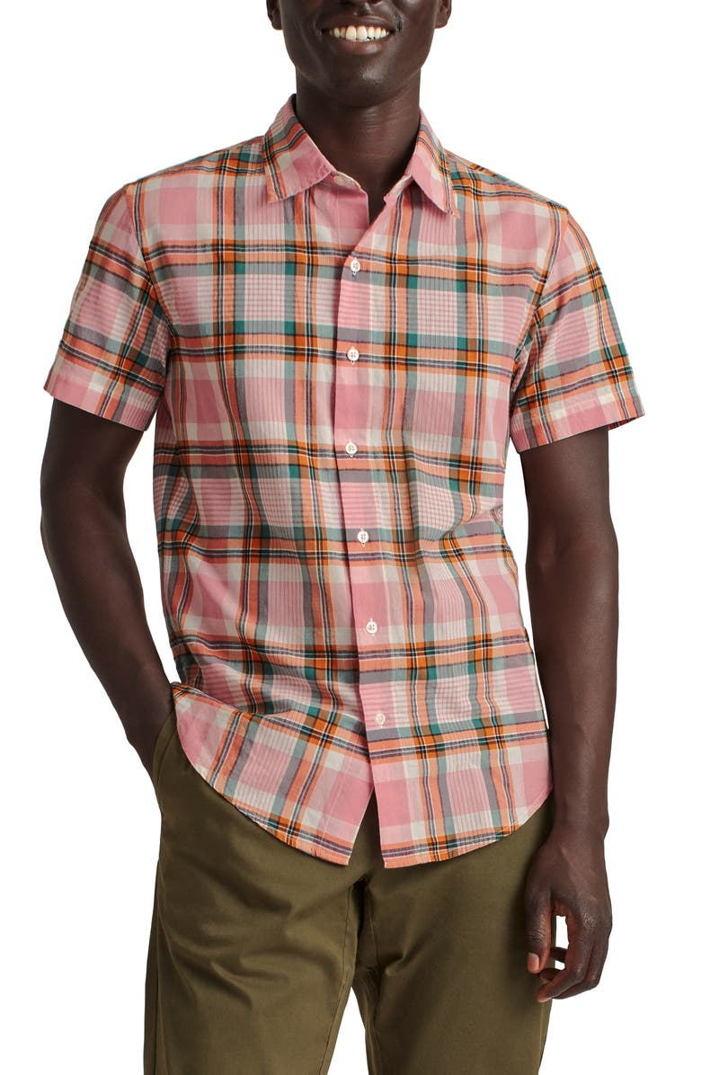 BONOBOS Rivie Slim Fit Plaid Short Sleeve Stretch Button-Up Shirt, Main, color, LEO PLAID - IN BLOOM