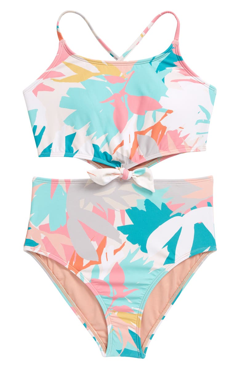 O'NEILL Kids' Atlas Knotted One-Piece Swimsuit, Main, color, MULTI