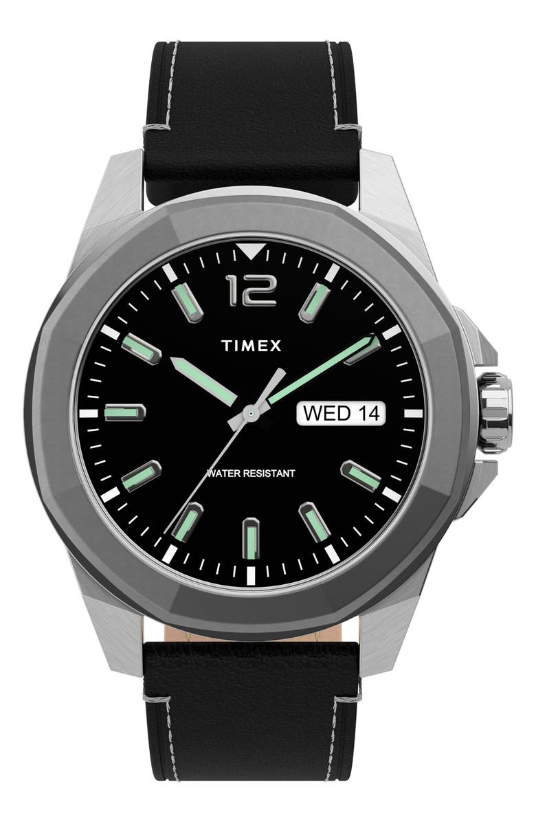 TIMEX<SUP>®</SUP> Essex Avenue Leather Strap Watch, 44mm, Main, color, BLACK/ SILVER