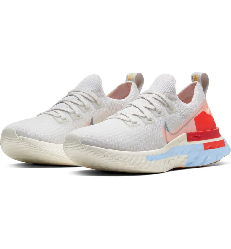 NIKE React Infinity Run Flyknit Running Shoe, Main, color, PLTNM TNT/WSHD CRL-PSYCHC BLU