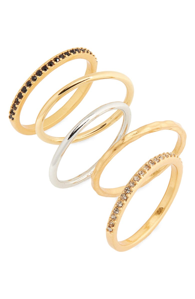 MADEWELL Filament Set of 5 Stacking Rings, Main, color, GOLD