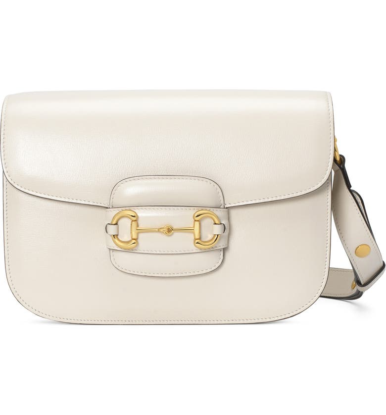 GUCCI Small 1955 Horsebit Leather Shoulder Bag, Main, color, MYSTIC WHITE