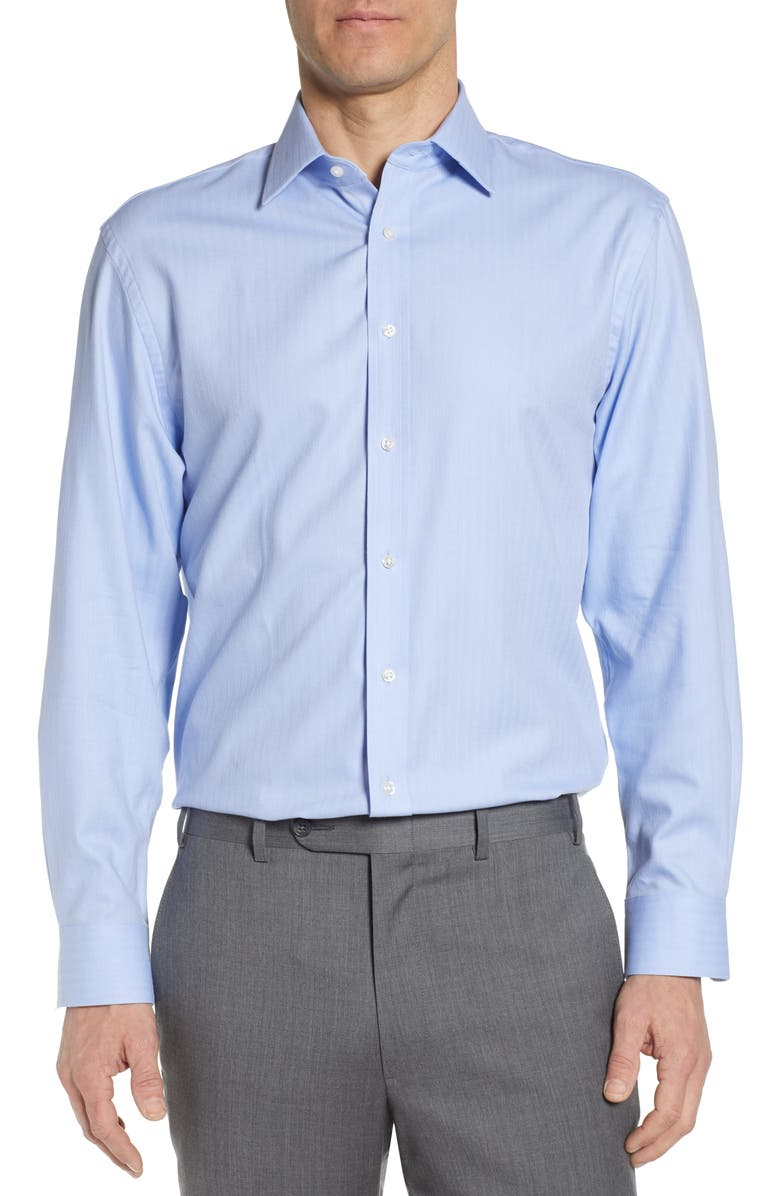 NORDSTROM Tech-Smart Traditional Fit Stretch Herringbone Dress Shirt, Main, color, BLUE HYDRANGEA