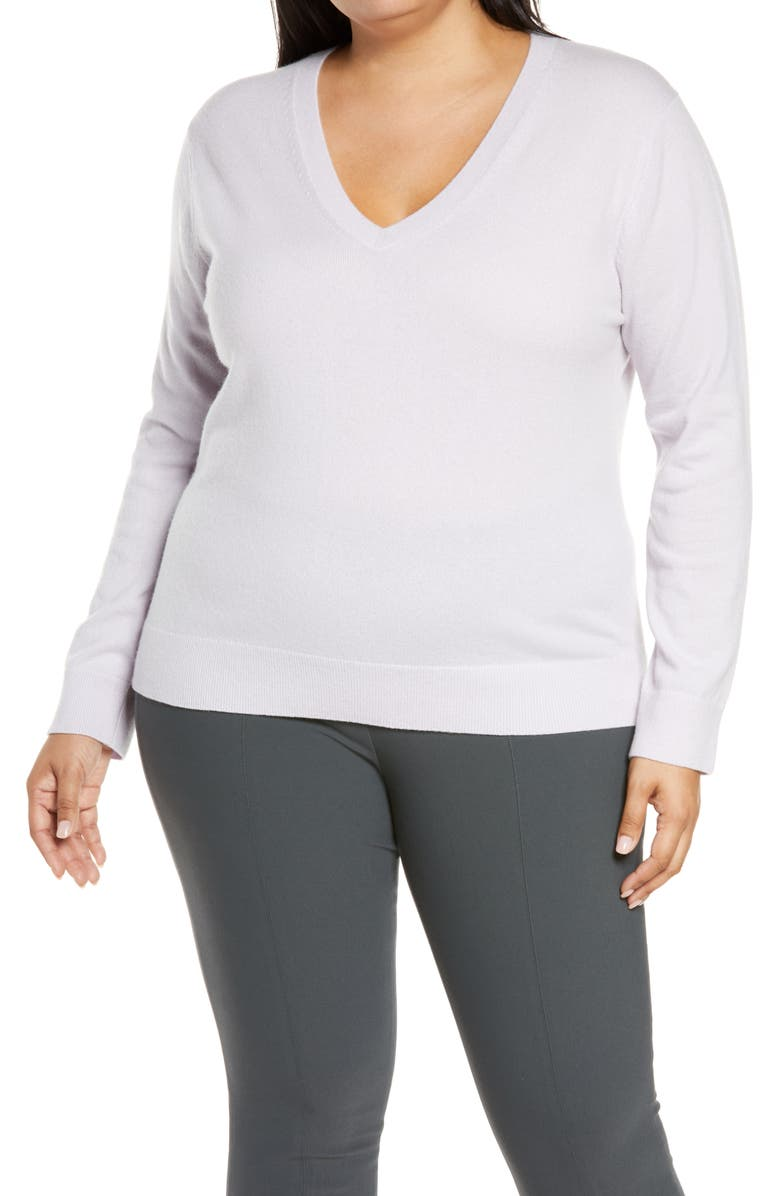 VINCE Weekend V-Neck Cashmere Sweater, Main, color, FRENCH LILAC