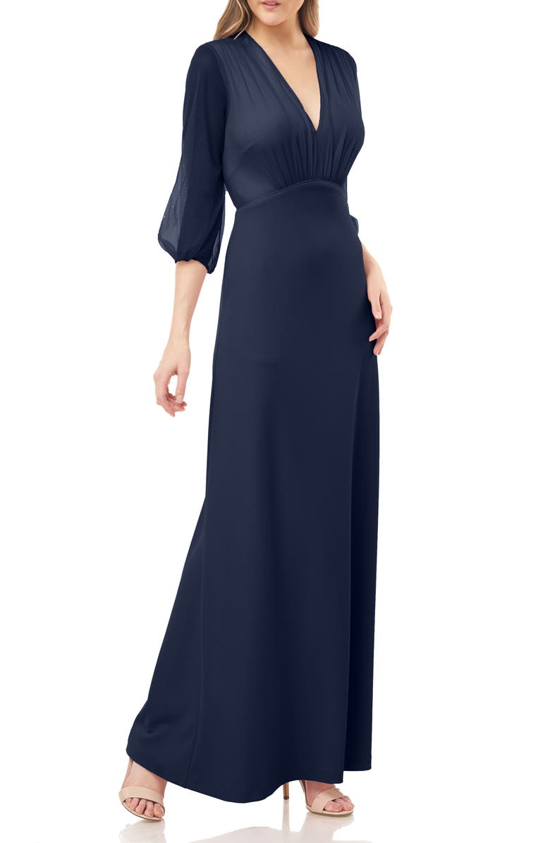 JS COLLECTIONS Crepe Gown with Chiffon Sleeves, Main, color, NAVY
