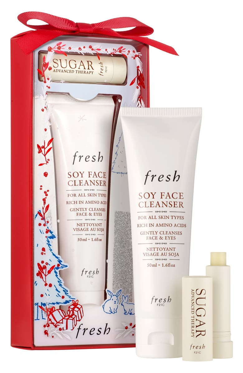 FRESH<SUP>®</SUP> Travel Size Soy Face Cleanser & Sugar Lip Treatment Advanced Therapy Set, Main, color, 000