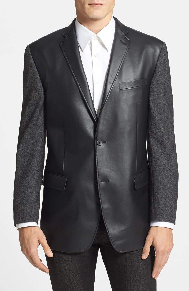 MARC NEW YORK by Andrew Marc Classic Fit Faux Leather & Wool Sport Coat, Main, color, 015
