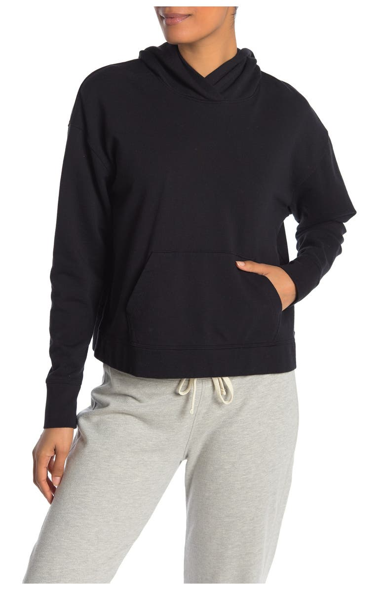 JAMES PERSE Relaxed Cropped Hoodie, Main, color, BLACK
