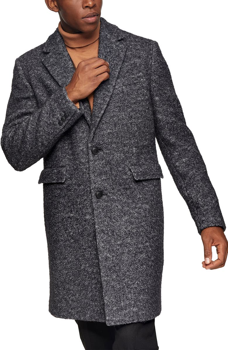 TOPMAN Wool Blend Overcoat, Main, color, BLACK