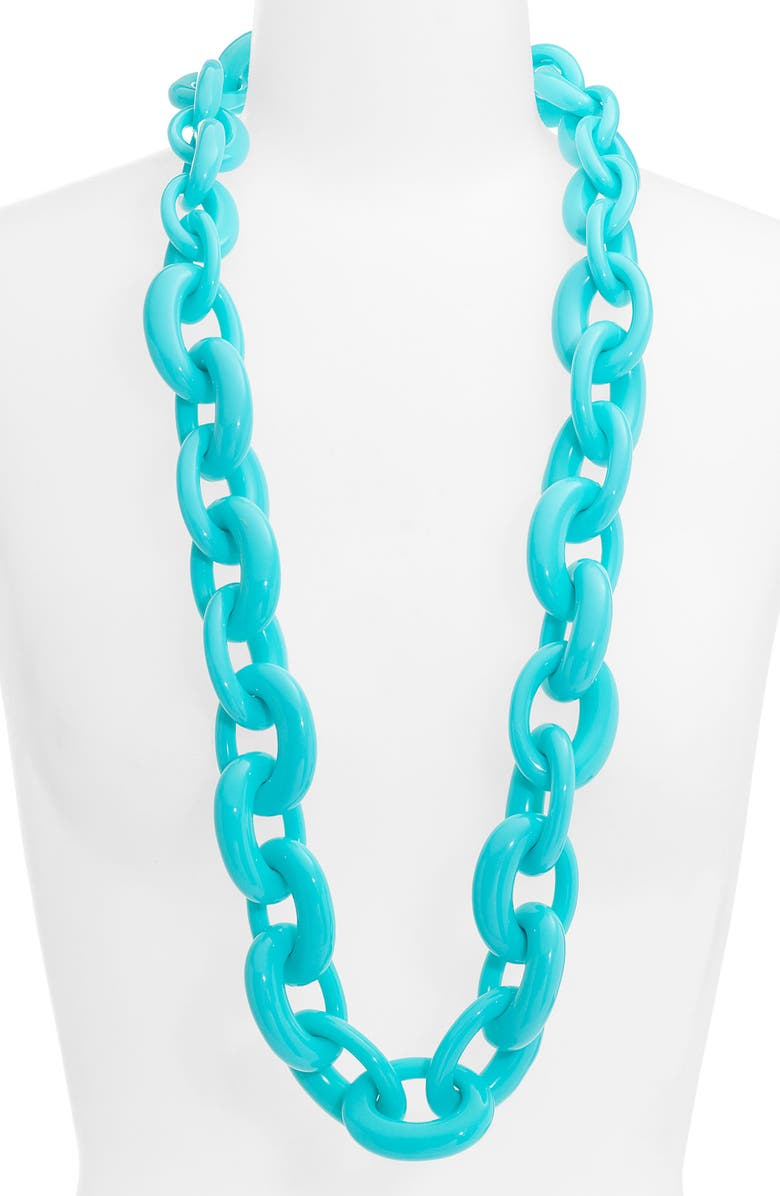 TORY BURCH Oval Link Necklace, Main, color, LAGOON