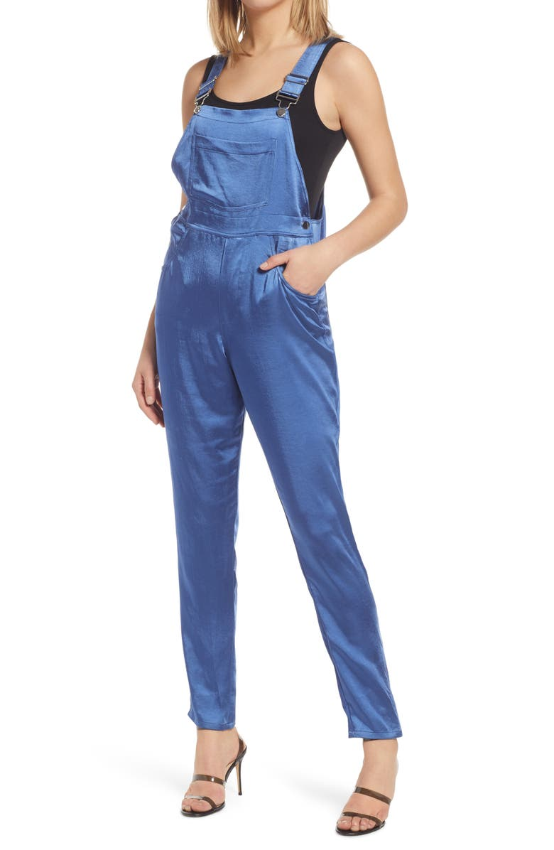 WE WORE WHAT Basic Satin Overalls, Main, color, BLUE