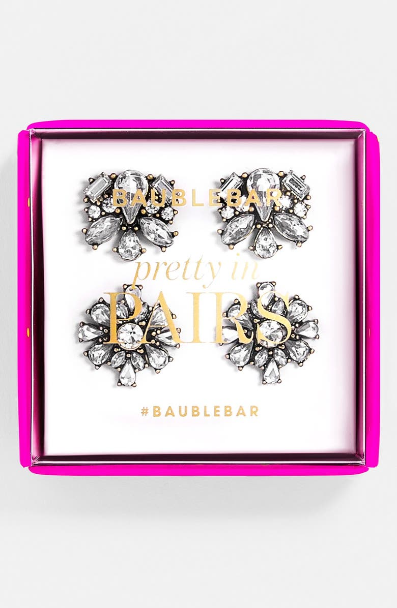 BAUBLEBAR 'Foliage' Stud Duo Earring Set, Main, color, CLEAR