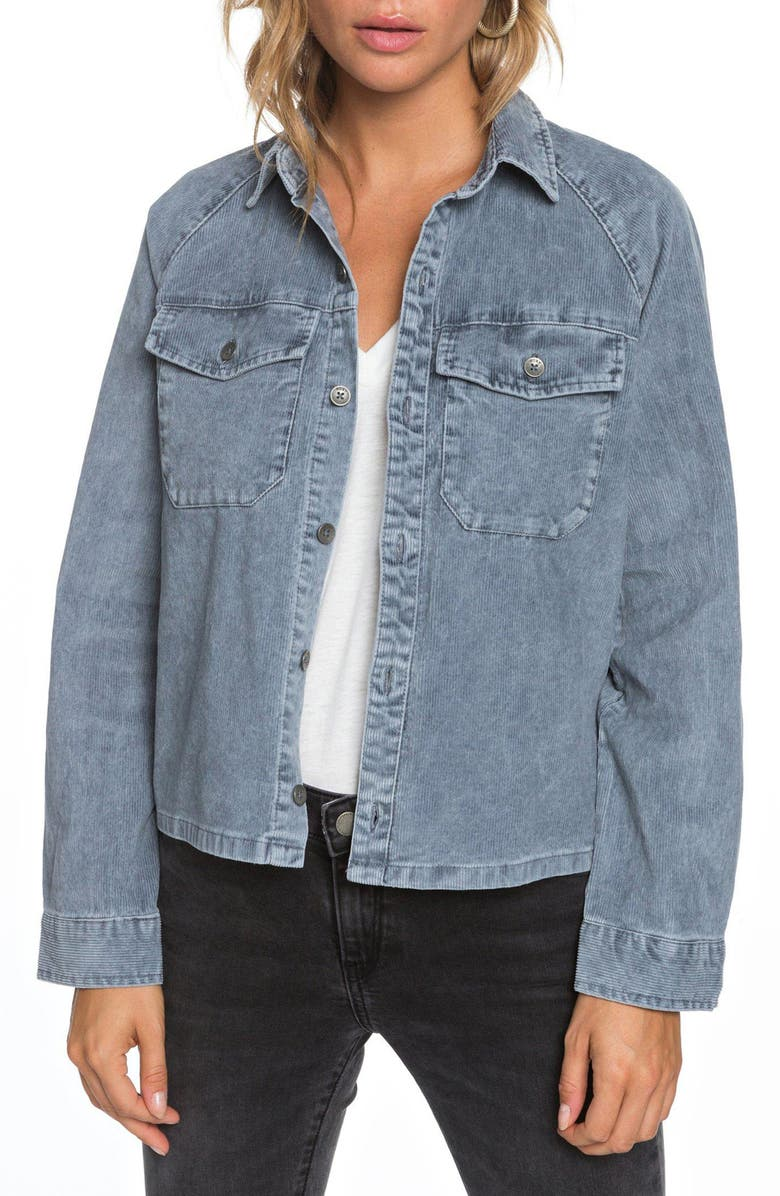 ROXY Be Right There Corduroy Shirt Jacket, Main, color, 400