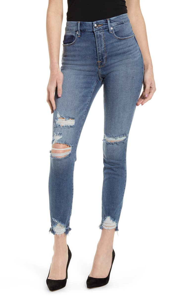 GOOD AMERICAN Good Waist Ripped High Waist Ankle Skinny Jeans, Main, color, 401