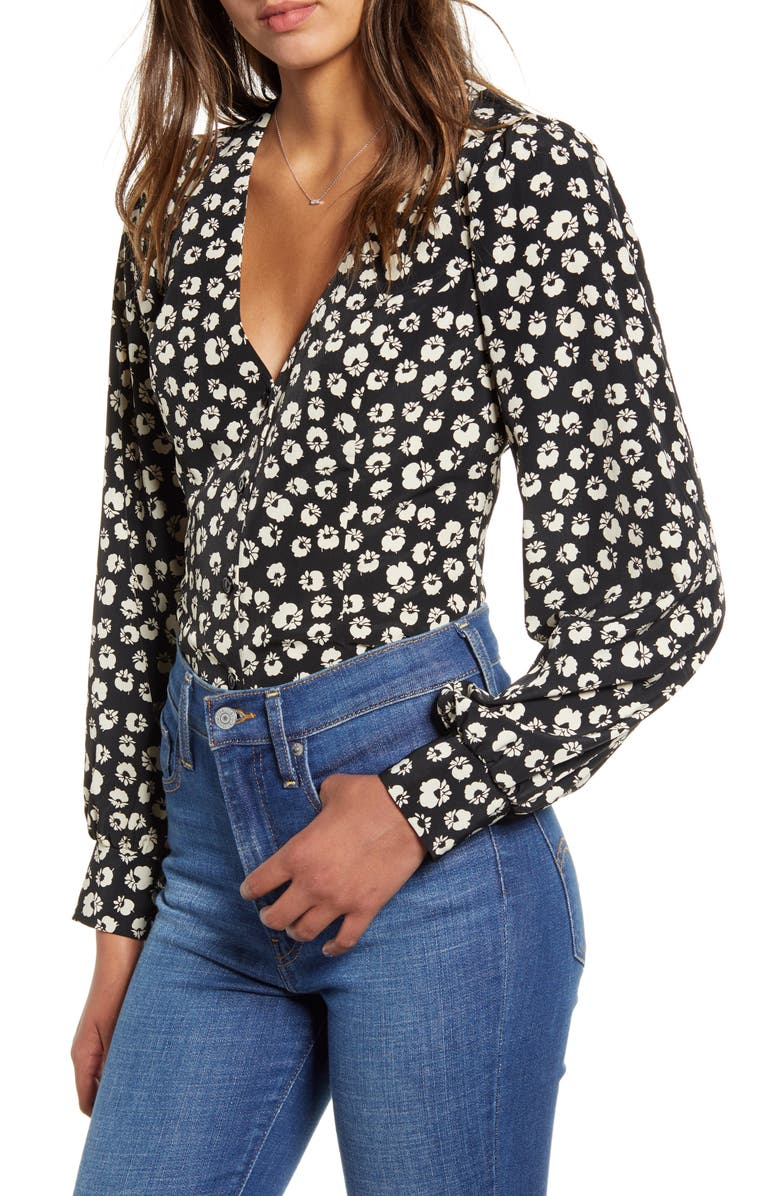 ALL IN FAVOR Floral Print Blouse, Main, color, 001