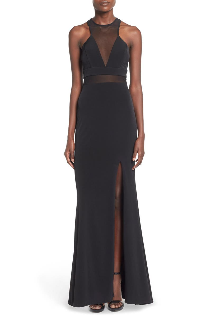 WAY-IN 'Wendy' High Neck Gown, Main, color, Black