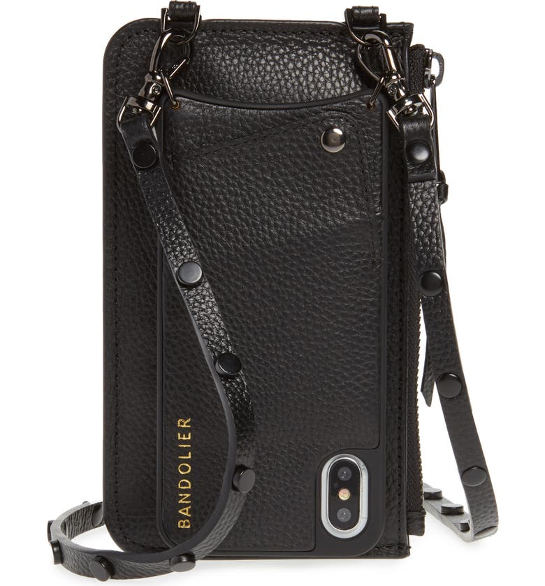 BANDOLIER Jane Leather iPhone X/Xs Crossbody Case & Pouch Set, Main, color, BLACK/ PEWTER