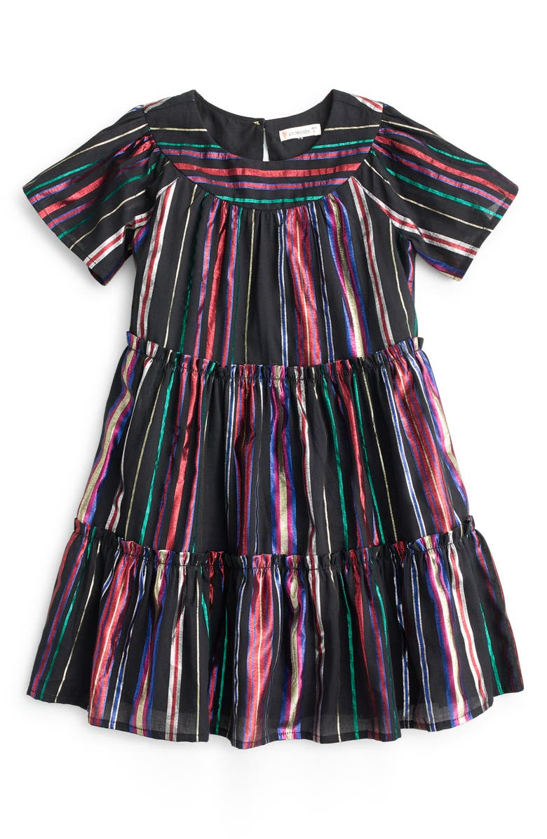 CREWCUTS BY J.CREW Short Sleeve Tiered Dress, Main, color, 001