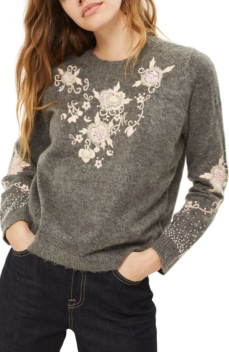 TOPSHOP Beaded Embroidered Sweater, Main, color, 021